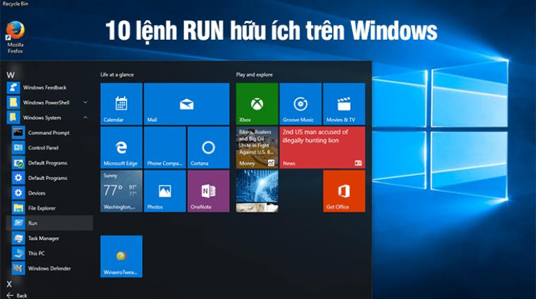 10 lệnh RUN hữu ích trên Windows