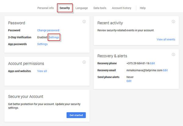 Tạo mật khẩu ứng dụng từ Google