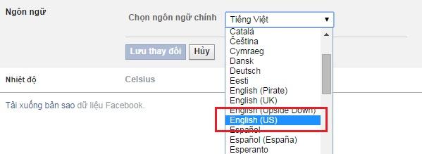 Chọn trong list ngôn ngữ English và nhấn nút Lưu thay đổi.