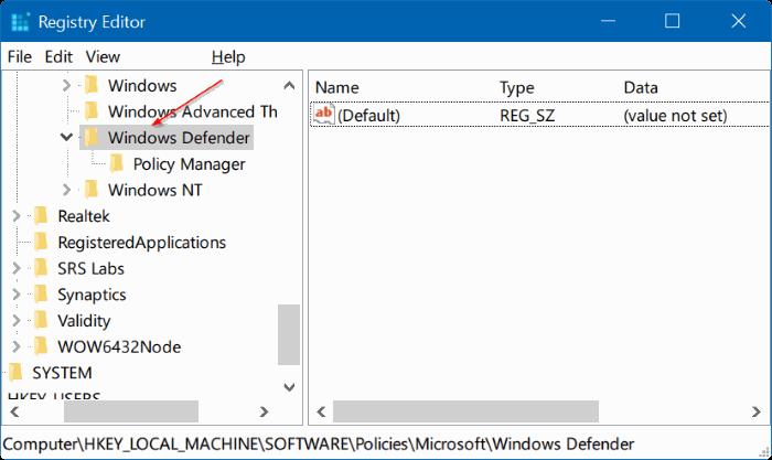 Cách vô hiệu hóa Windows Defender Windows 10 bằng Registry Editor