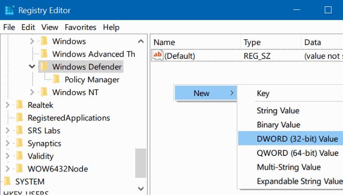 Tìm kiếm DWORD DisableAntiSpyware