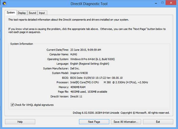 """Kiểm tra thông tin bằng lệnh """"dxdiag"""""""