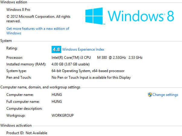 Kiểm tra cấu hình máy tính trên Windows