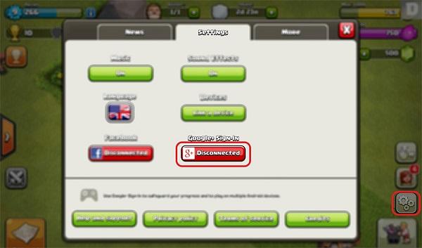 Chuyển tài khoản Clash of Clan trên Android