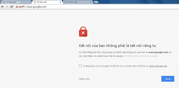 lỗi kết nối của bạn không phải là kết nối riêng tư