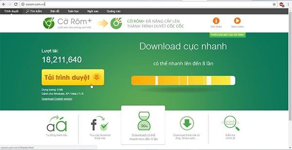 Trình duyệt Cốc Cốc có hỗ trợ tiếng Việt, tải video cực nhanh