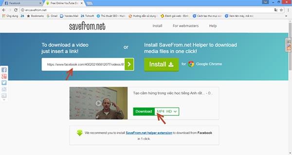 Cách tải video trên Facebook bằng công cụ savefrom.net