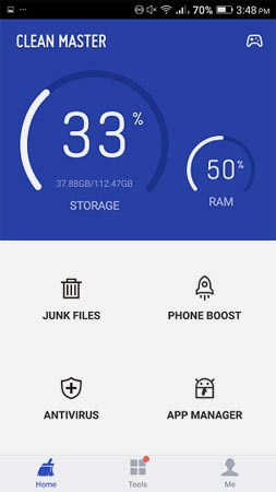 Sử dụng Clean Master để kiểm tra dung lượng RAM đã sử dụng và còn trống