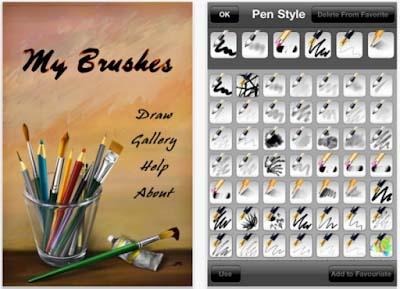 Ứng dụng với nhiều bút lông khác nhau giúp bạn tạo nên những phong cách tranh khác nhau