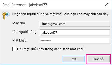 Lỗi đăng nhập tài khoản Gmail lên Outlook