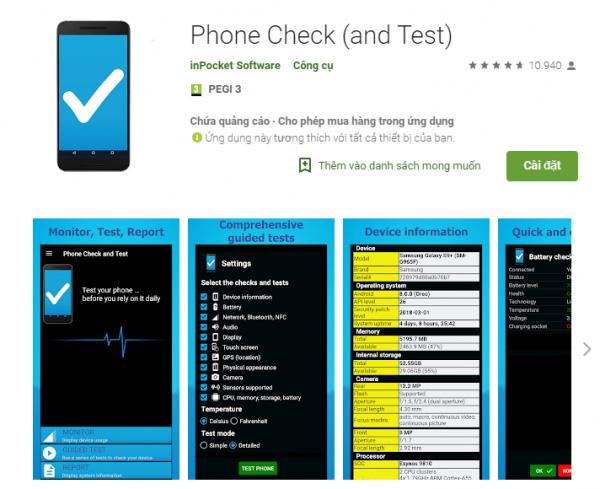 Kiểm tra chai pin Android bằng Phone Check