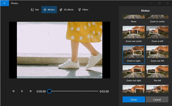 Thêm hiệu ứng chuyển động cho video