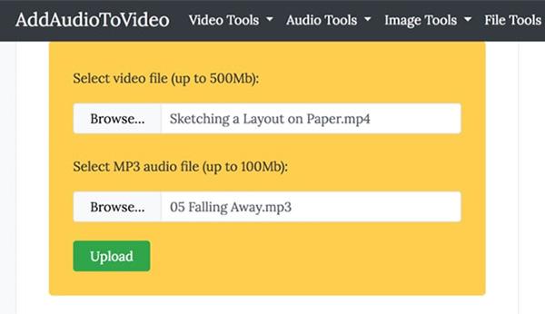 Cách ghép nhạc vào video online free tại website addaudiotovideo.com (1)