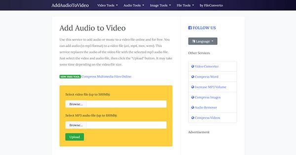 Cách ghép nhạc vào video online free tại website addaudiotovideo.com