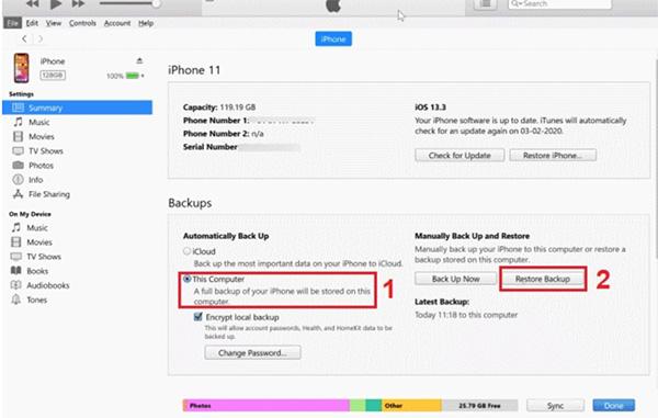 Cách chuyển tin nhắn từ iPhone sang iPhone bằng iTunes (1)