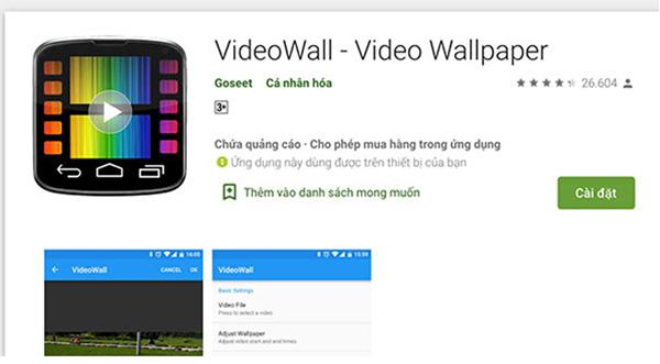phần mềm Wallpaper có sẵn trên cửa hàng CH Play